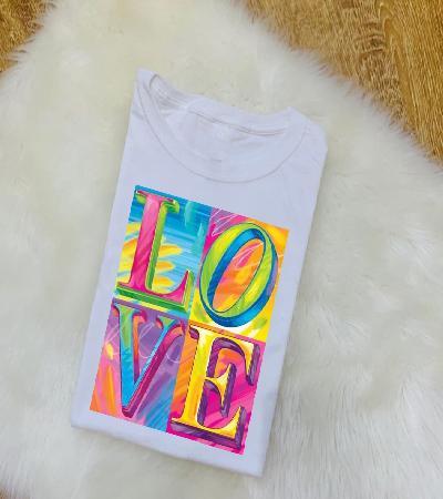 Camisa Love matiz de colores